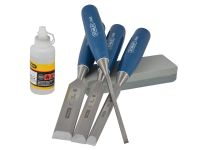 Stanley Chisel Set With Stone & Oil 4 Piece